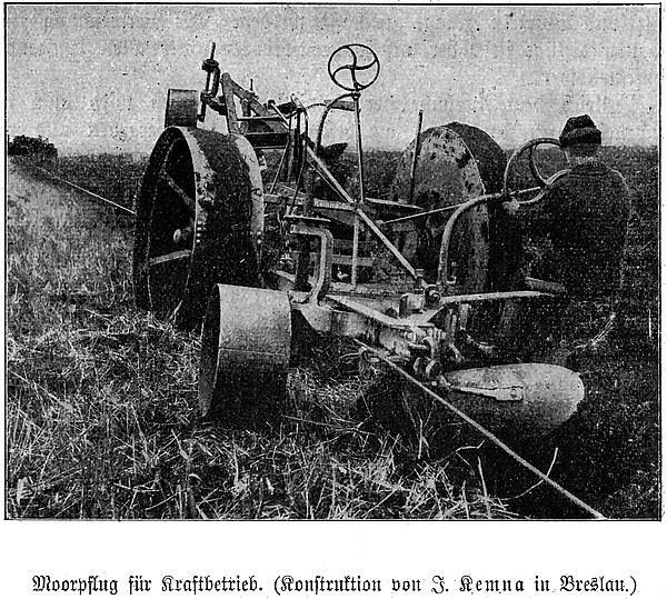 Moorpflug für Kraftbetrieb (Konstruktion von J. Kemna in Breslau) (1912)