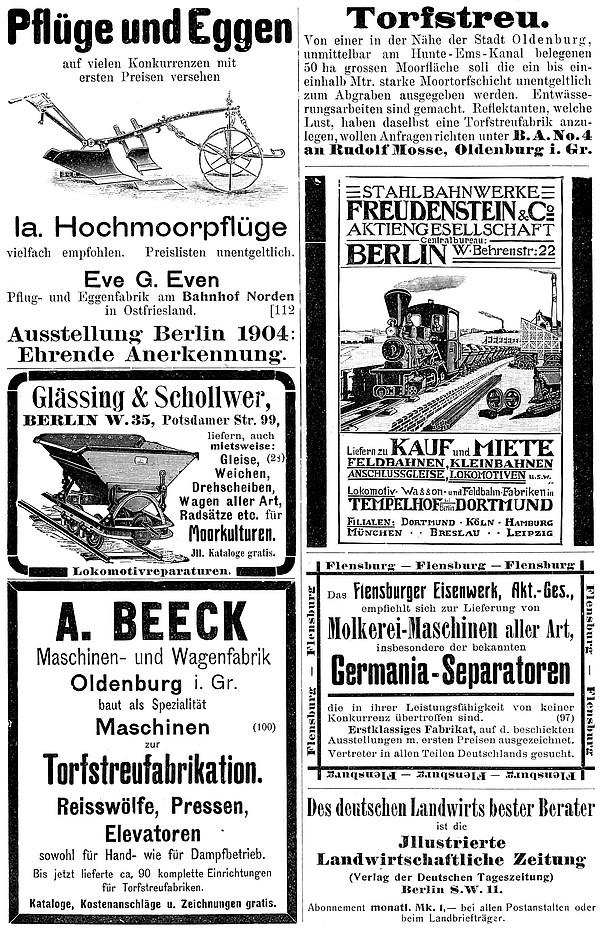 Annonce 24: Moornutzung (1900 bis ca. 1920)