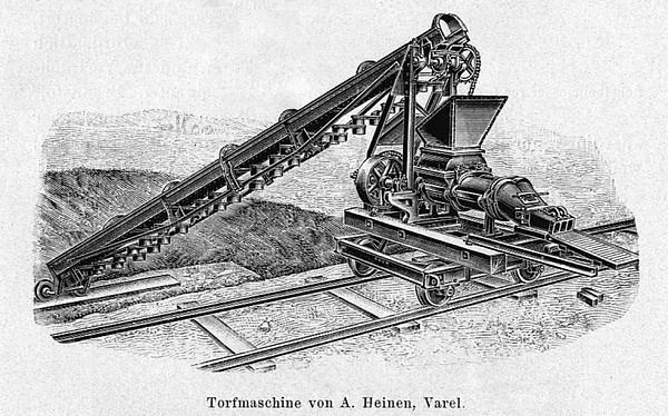 Torfbagger mit sog. Torfmaschine zur Herstellung von sog. Preßtorf/Maschinentorf