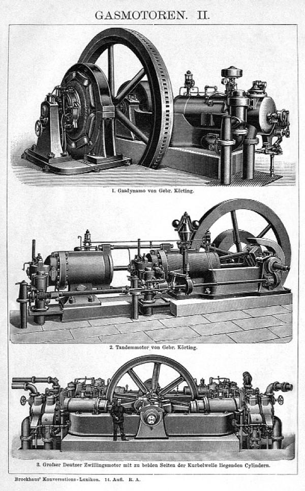 diverse Gasmotoren um 1905, u.a. zur Stromerzeugung (obere Abb.)